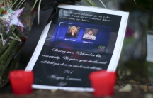 A picture of the slain journalists at a memorial outside of WDBJ7