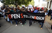 Students march at Stellenbosch University earlier this year