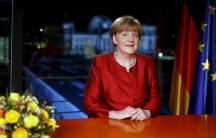 German Chancellor Angela Merkel poses after recording her New Year's speech in the Chancellery in Berlin, Germany, December 30, 2015.