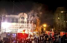 Flames rise outside Saudi Embassy in Tehran