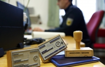"""Deportation stamps used by the German federal police """"Bundespolizei"""" to stamp ID documents of rejected asylum seekers, in Rosenheim, southern Germany."""