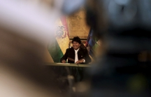 """President Evo Morales holds a news conference at the presidential palace in La Paz, Bolivia on Feb. 22, 2016. Morales asked Bolivians on Monday to wait """"calmly"""" for the official result of Sunday's referendum on whether he should be allowed to run for re-e"""
