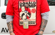 A Donald Trump supporter outside a rally at the Dayton International Airport in Dayton, Ohio.