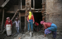 Rebuilding efforts in Bhaktapur, Nepal