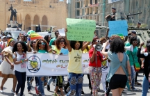 Migrant domestic workers marched in Beirut, Lebanon on May 1.