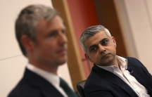 Britain's Labour Party candidate for Mayor of London, Sadiq Khan (R) looks at Conservative party candidate Zac Goldsmith during a hustings event in London, Britain March 23, 2016.