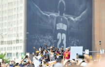 Cleveland Cavaliers forward LeBron James celebrates during the NBA championship parade in downtown Cleveland.