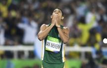 Wayde van Niekerk (RSA) of South Africa reacts after winning the final.