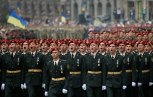 Servicemen march during Ukraine's Independence Day military parade in central Kiev, Ukraine, August 24, 2016.