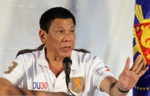 Philippine President Rodrigo Duterte speaks during a news conference in Davao city.