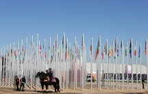 Moroccan security stand guard in front of the entrance of the UN Climate Change Conference 2016 (COP22) in Marrakech, Morocco, November 14, 2016.