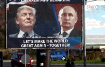 A billboard links the agendas of US president-elect Donald Trump and Russian President Vladimir Putin in Danilovgrad, Montenegro.