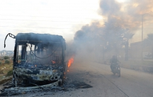 Syria Aleppo bus burning