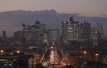 The financial district of Paris, La Defense, at dusk on January 5th 2017