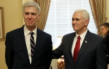 Supreme Court nominee Judge Neil Gorsuch stands with Vice President Mike Pence on Capitol Hill in Washington, DC, Feb. 1, 2017.