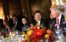 Chinese President Xi Jinping at a dinner hosted by US President Donald Trump at Trump's Mar-a-Lago estate