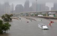 Interstate highway 45 is submerged from the effects of Hurricane Harvey.