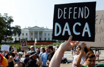 Demonstrators protest in front of the White House after the Trump administration today scrapped the Deferred Action for Childhood Arrivals (DACA).