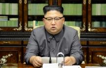 North Korea's leader Kim Jong-un speaks in Pyongyang, Sep. 22, 2017.