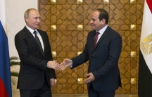 Russia's President Vladimir Putin meets his new friend, Egypt's President, Abdel Fattah al-Sisi, in Cairo on Monday