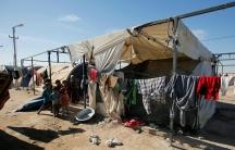 Displaced Iraqi children at the Amriyat al-Fallujah camp in Anbar Province, Iraq, Jan. 3, 2018.