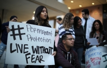 People protest to call for a new DREAM Act to replace DACA in Los Angeles, California, Jan.17, 2018.