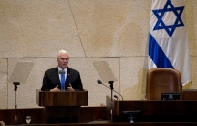 Vice President Mike Pence addressing the Knesset, in Jerusalem, Monday