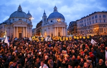 5-Star party supporters gather in Piazza del Popolo
