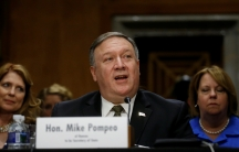 CIA Director Mike Pompeo testifies before a Senate Foreign Relations Committee confirmation hearing on Pompeo's nomination to be secretary of state on Capitol Hill in Washington, DC, on April 12, 2018.