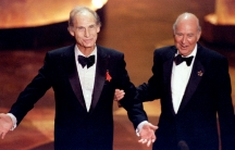 Television comedy legends Sid Caesar (L) and Carl Reiner are greeted by the audience September 10 at the 47th Annual Emmy Award s held in Pasadena