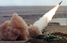 A 'Buk' anti-aircraft battery launches a ground-to-air missile during a Ukrainian army exercise before the war. The weapon is in service with the militaries of both Russia and Ukraine, although Russia says it no longer uses the model identified by Dutch i