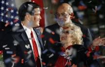 Florida Senator Marco Rubio celebrates his 2010 election win with his mother Oria.