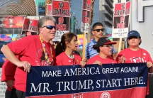 Hundreds protest on the Las Vegas Strip and in front of the Trump International Hotel. Workers are demanding a union contract at the Las Vegas hotel. April 21, 2016.