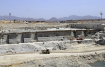 Ethiopia's Grand Renaissance dam on the Blue Nile, shown under construction in March of 2014. Egypt claims most of the water in the 4,000 mile-long river that it shares with 10 other countries, and fears the $4.7 billion Renaissance dam will reduce the wa
