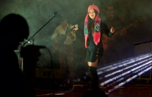 Fourteen-year-old Renata Flores at her first concert held in September 2015, in Ayacucho, Peru. The majority of popular cover songs she sang that night were in Quechua.