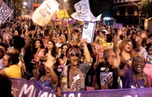 March against house speaker Eduardo Cunha's abortion bill on International Day to End Violence Against Women in Rio de Janeiro