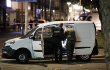 Police investigates a van with Spanish license plate packed with gas canisters in the vicinity of the concert venue Maassilo, after a concert was cancelled because of a terror threat, in Rotterdam.
