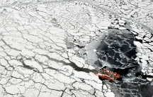 Arctic ice with ship