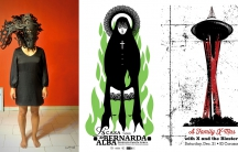 """A triple of posters from left to right: """"Take Heed, Hold Fast the Rope of Mother Wit"""" by Shahrzad Changalvaee (Tehran); """"La Casa de Bernarda Alba"""" by Darwin Fornés (Havana); """"A Family X-Mas"""" by David Gallo (Seattle)."""