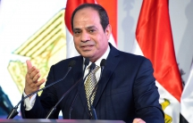 """Egyptian President Abdul Fattah al-Sisi speaks during the opening of the first and second phases of the housing project """"Long Live Egypt"""", Egypt May 30, 2016."""