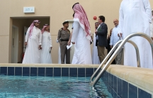 Local and international media representatives are given a tour of a center for the rehabilitation of suspected terrorists.