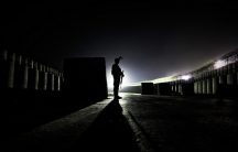 Soldier silhouetted