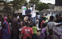 Members of the hip-hop group Y'en a marre perform during a community concert in the Dalifort neighbourhood of Senegal's capital Dakar, June 18, 2011.