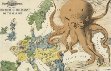 A US cartoon from 1877, showing Russia as an octopus spreading its tentacles over Europe and south-west Asia. In that year, Russia went to war to 'save' Orthodox Christian rebels in the Ottoman Empire.