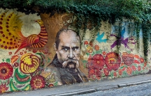 Graffiti portrait of Taras Shevchenko in Kharkiv, Ukraine.