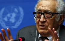 UN-Arab League envoy for Syria Lakhdar Brahimi addresses a news conference at the United Nations European headquarters in Geneva.