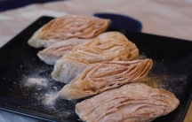 A traditional Tibetan 'khabsey', or cookie, called 'sangha bahaley.' One of the many treats Tibetans eat on Lunar New Year, or Losar.