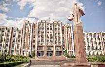 Statue of Vladimir Lenin in front of the Transnistrian parliament building in the break-away region's capital, Tiraspol.