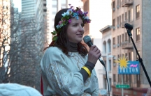 Lesya Pishchevskaya, from Ukraine, speaks at a rally in December near the Ukrainian consulate in San Francisco. Pishchevskaya, who works in the tech industry, is also part of MaydanSF, a local group supporting opposition-led protests back home.