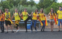 Catalans who want to separate from Spain join hands as part of a human chain across Catalonia on Sept. 11, 2013.